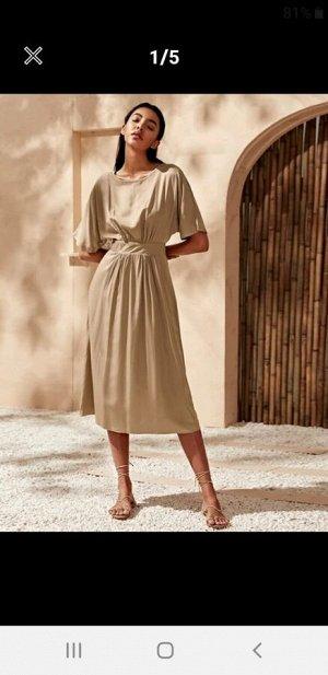 Платье бежевое длинное 46р. Рост 165-175