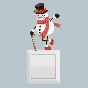"""Наклейка на выключатель (розетку) """"Снеговик"""""""
