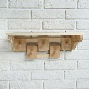 Полка деревянная, комбинированная 5 креплений
