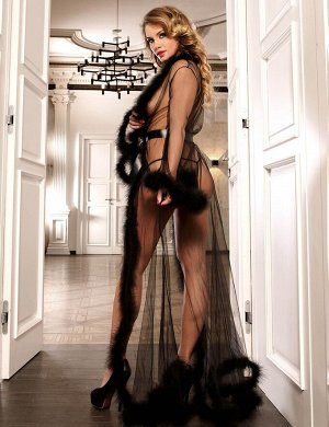 Сексуальный прозрачный халатик с мехом
