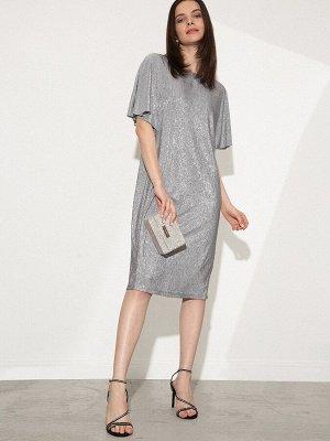 Платье из сияющей текстурной ткани PL1099/happy