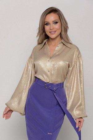 Блуза Длина блузы измеряется по спинке от основания шеи до низа изделия  и для всех предлагаемых размеров (42 - 52) составляет 68 см. Ткань: плательно-блузочного ассортимента.  БЛЕСК НЕ ОСЫПАЕТСЯ  Тон
