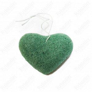 Спонж конжаковый с экстрактом зеленого чая Сердце