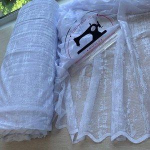 Тюль готовый белый эффект штукатурки шириной 5 метров