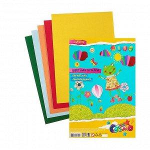 Бумага цветная бархатная самоклеящаяся, набор A4, deVENTE, 5 листов х 5 цветов, 145 г/м?