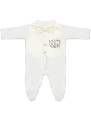 """Комплект на выписку """"Принц"""" комбинезон с молочной жилеткой, бабочкой и стразами"""