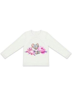 """Лонгслив """"Мышка в цветах"""" для малышей"""