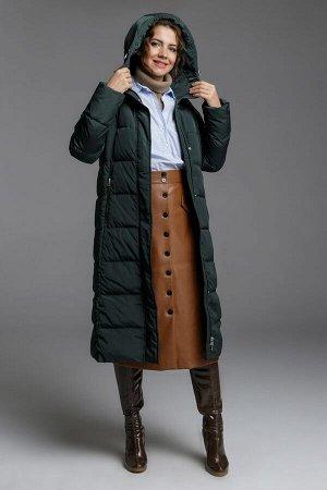 Куртка Женское зимнее пуховое пальто полу-прилегающего силуэта с круговой кокеткой. Центральная застежка на молнии с двумя замками, с внутренней ветрозащитной планкой. Внешняя ветрозащитная планка зас