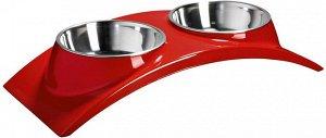 """SuperDesign миска двойная на меламиновой подставке """"Элеганс"""" 2х160 мл красная"""
