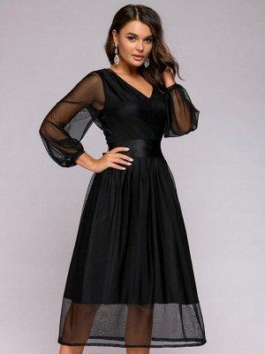 Платье черное длины миди с V-образным вырезом и верхом из фатина