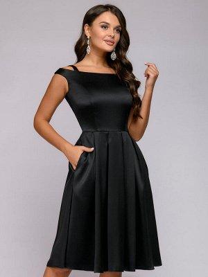 Платье черное длины миди с пышной юбкой