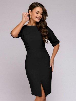 Платье черное длины мини с короткими рукавами