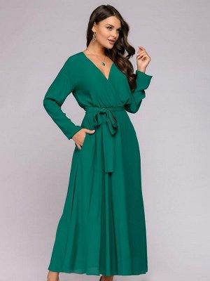 Платье зеленого цвета длины макси с имитацией запаха