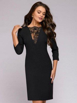 Платье черное с рукавами 3/4 и кружевной вставкой