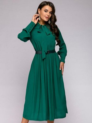 Платье зеленое длины миди с бантом и длинными рукавами