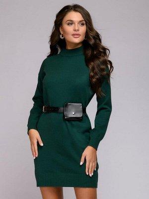 Платье трикотажное зеленое с длинными рукавами