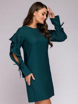 Платье зеленое с оригинальными рукавами