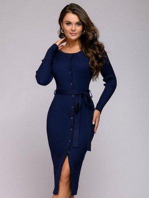 Платье трикотажное синее с пуговицами