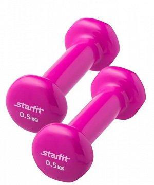 Гантель виниловая, комплект STARFIT DB-101 0,5 кг, розовый, 2 шт