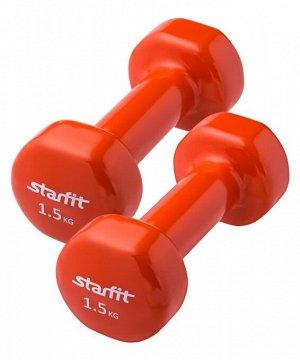 Гантель виниловая, комплект STARFIT DB-101 1,5 кг, оранжевый, 2 шт