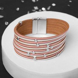 """Браслет ассорти """"На магните"""" дорожка с бусинками, цвет розово-белый в серебре, L=19,5 см"""