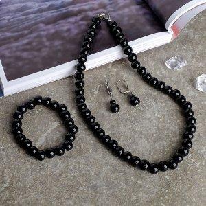 "Набор 3 предмета: серьги, бусы, браслет, шар №10 ""Агат чёрный"""