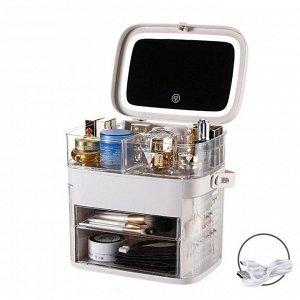 Органайзер для косметики с зеркалом и LED-подсветкой Х-8447 LED белый