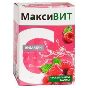 Витамин С растворимый МаксиВИТ, малина 10 саше по 16 гр.