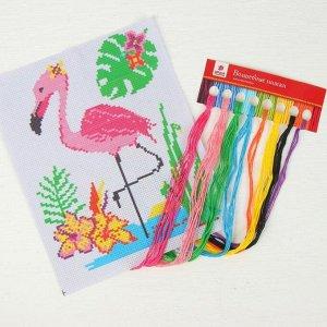 Вышивка крестиком «Фламинго» 25 х 20 см. Набор для творчества