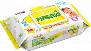 """Салфетки влажные """"MANEKI"""", детские с экстрактом ромашки и алоэ, 80 шт./упак"""