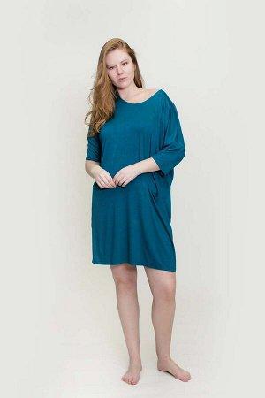 180005 Платье-туника рукав 3/4 с карманами,вс темно-зеленый 54/3XL