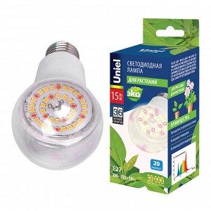 """Лампа светодиодная для растений. Форма """"A"""", прозрачная. Спектр для фотосинтеза. Картон. LED-A60-15W/SPFB/E27/CL PLP30WH"""