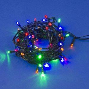 Гирлянда светодиодная, 5м. 50 светодиодов. Разноцветный свет. Провод зеленый. ULD-S0500-050/DGA MULTI IP20
