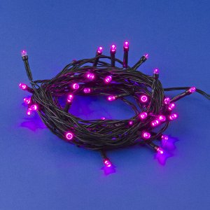 Гирлянда светодиодная, 5м. 50 светодиодов. Розовый свет. Провод зеленый. ULD-S0500-050/DGA PINK IP20