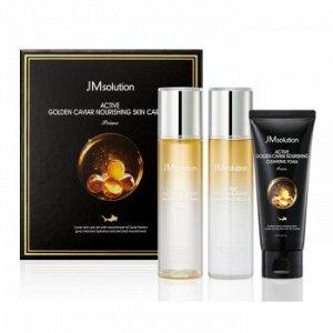 JMsolution Aсtive Golden Caviar Nourishing Skin Care Set (3 items) Трёх этапный уходовый набор с экстрактом икры