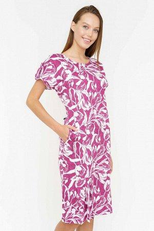 Платье Ткань: кулирка набивная; Состав: Хлопок 100%; Цвет: Лилово-белый; Страна: РоссияПлатье с первого взгляда вызывает восхищение яркой цветовой палитрой - причудливые большие тюльпаны на розовом фо