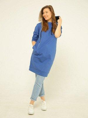 Платье Ткань: футер;  Состав: х/б 95% л. 5%;  Сезон: Осень, Зима;  Цвет: индиго;