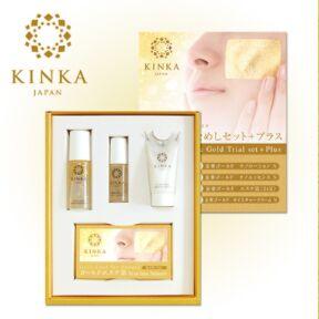 KINKA Золотая маска — набор стартовый большой (лосьон, эссенция, крем, золотые листки)