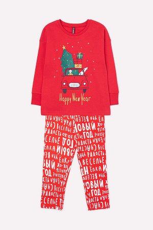 Пижама детская Crockid К 1560 насыщенно-красный, новогодние буквы