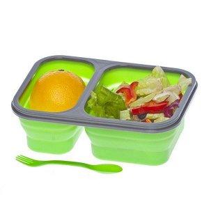 Контейнер для еды силиконовый складной, 2 отделения