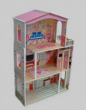 Деревянные игрушки: Кукольный дом 3 этажа ТХ1052 (1/1) (разм.74.6*32*116.5см)