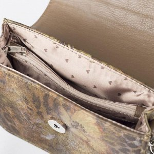 Сумка женская, отдел на клапане, наружный карман, длинный ремень, цвет зелёный