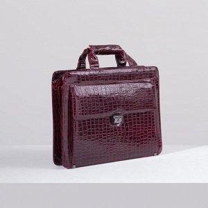 Портфель, 5 отделов на молнии, отдел для планшета, 2 наружных кармана, длинный ремень, цвет бордовый