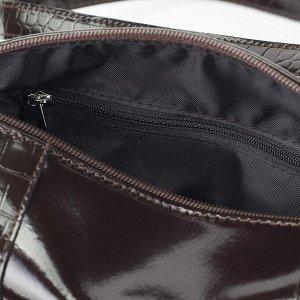 Сумка женская, отдел на молнии, наружный карман, цвет коричневый