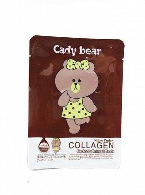 Тканевая маска для лица Million Pauline Cartoon Animal Mask Collagen Cady Bear (мишка)