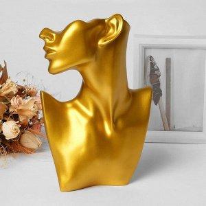 Бюст для украшений, пол-лица, отверстие под серьгу, 18*5*26, цвет золото