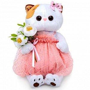 Мягкая игрушка «Кошечка Ли-Ли» с белым букетом, 15 см