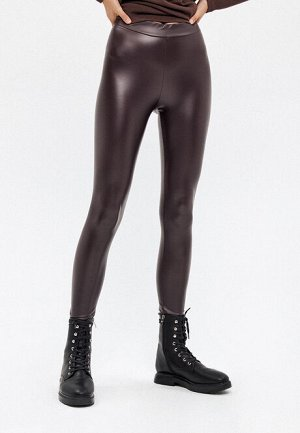 Легинсы из искусственной кожи, цвет шоколадный