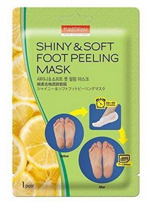 Отшелушивающая маска для ног, 17гр*2 Purederm Shiny&Soft Foot Peeling Mask