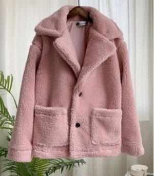Полушубок светло розовый